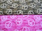"PEACE SIGNS 100% cotton fabric novelty camo and pink 1 yd x 44"" wide FREE SHIP"