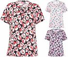 Womens Plus Size Floral Printed Brooch Neck Short Sleeve Stretch Ladies Long Top