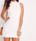 MISSGUIDED Women's High Neck Embroidered Hem Dress White (M27/26)
