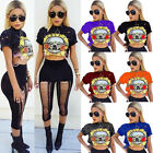 Womens Summer Short Sleeve Tee Blouse Casual Crop Top Floral Print T-Shirt Tops