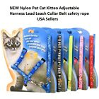 NEW Nylon Pet Cat Kitten Adjustable Harness Lead Leash Collar Belt safety rope