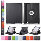 For Apple Ipad 2 3 4 Air Smart Folio Pu Leather Rotating Case Stand Rugged Cover