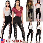 Women's Black Eyelets High Waist Lace Up Leggings Pencil Pants Bandage Trousers
