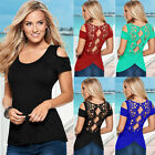 LADIES WOMEN'S SLEEVELESS EMBROIDERY BLOUSE CASUAL LACE CROCHET TOP ELEGANT