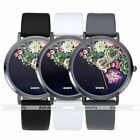 Flower Bud Core PU Leather Band Analog Quartz Women Girls Watch Wristwatches US
