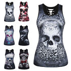 Womens Skull Print Sleeveless Vest Tank Top Ladies Hollow Summer Slim T shirt