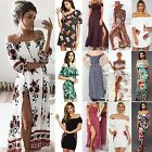 COOL Womens Vintage Floral Off Shoulder Long Maxi Dress Romper Summer Jumpsuit