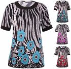 Womens Plus Size Top Short Sleeve Flower Border Printed Stretch Ladies T-Shirt