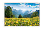 Flower Field and Mountains Landscape Poster Prints Wall Art Decoration Pictures