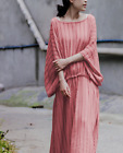 Elegant Womens Loose Casual Cotton Linen Full Length Summer Dress Chic Vintage K