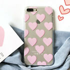 Maiden Cover Pink Loving Heart Crystal Clear TPU Case For iphone 7 6 6S Plus