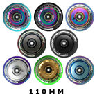 Pair- Solid Core 110mm Chrome Stunt Scooter Wheels Hollow Core Mixed PU NEW 2017