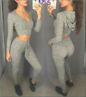 Fashion Women 2pcs Hooded V Neck Blouse Crop Tops Long Jumpsuit Casual Rompers
