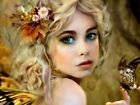 Butterfly Amazing Green-eyed Girl Curly Blonde Wall Print POSTER UK