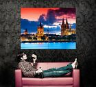 Gothic cathedral Cologne Germany City Night River Clouds Wall Print POSTER CA