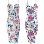 NEW LADIES STRAP MIDI DRESS MULTI FLORAL PRINT WOMEN BODYCON SLIT NECK CAMI LOOK