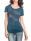 New Affliction Women Reversible Shirt Braided S/s Heart Angel Wings in Blue