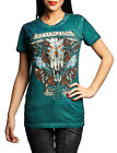 Affliction Women Shirt Live Fast Tee Bull Skull Western Rose Short Sleeves Teal