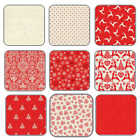 Christmas Fabric Scandi 4 from Makower 100% Cotton, Linen Look XMAS RED FQ+