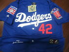Brand New! Brooklyn Dodgers #42 Jackie Robinson w/2Patches stitched Jersey Blue