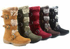 Women's Fashion Mid High Faux Fur Square Toe  Zipper Boot Shoes Size 5.5-10 New