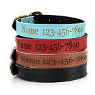 Custom Made Personalised PU Leather Pet Dog Safety Collar Engraved Name & Number