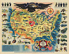 Historical Map Pictorial Military WWII War Bonds Poster History Wall Art Print