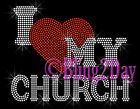 I Love My Church - RED Heart - Iron on Rhinestone Transfer Hot Fix Bling - DIY