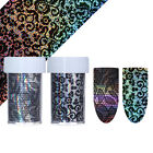 Holo Starry Nail Foil Black Lace Flower  Transfer Nail Art Stickers