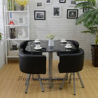 Panana Black Dining Table With 4/6 Chairs Set Round Tempered Glass Space Saver