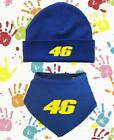 NEW BABY BOYS BLUE ROSSI GP PERSONALISED BABY HAT AND BIB NOVELTY CUTE GP GIFT
