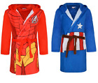 Boys Marvel Avengers Super Hero Hooded Fleece Bathrobe Dressing Gown Age 2-9yrs