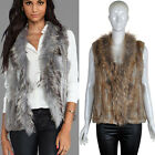 Lady Genuine Knitted Rabbit Fur Vest RACC00N Collar Ideal Design Gilet Waistcoat