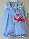 NWT Petit Ami Blue Lobster Ruffle Romper Bubble 3 6 9 Months Girls Boutique
