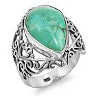 Turquoise Drop Filigree Design Sterling Silver Cocktail Ring - Sizes 6 & 7