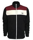 Mens Fred Perry Track Top - Colour Block Jacket - Navy - J2601 - 608