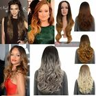 WOMENS NEW OMBRE WAVY MIDDLE PARTING LONG FULL HEAD WIG ANDRIANA