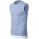 Solid Color T-shirt Round Collar Design Sleeveless Slim Tops Mens Casual Shirt