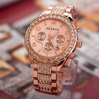 Geneva Luxury Women Crystal Stainless Steel Quartz Analog Wrist Watch  F0023