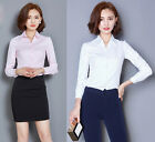 Women Fashion Twill V Neck Long Sleeve Solid Button Blouse Career OL Shirt Tops