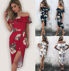 Women Ladies Boho Floral Beach Dress Evening Cocktail Club Party Long Maxi Dress