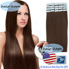 US Stock Remy Human Hair Extensions Tape in Skin Weft Medium Brown 16-22Inch 7A