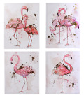 Pink Flamingo Gold Foil Water Colour Painting Modern Art Home Wall Decoration