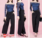 Womens Black Dress Pants Wide Leg Stretch High Waisted Work Trousers Size 12 New