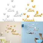 Live Laugh Love Quote Butterfly Vinyl Art Wall Decal Stickers Mirror Home Decor