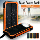 300000mAh Portable Waterproof Solar Power Bank Dual USB Battery Phone Charger UK