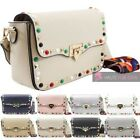 NEW WOMENS FAUX LEATHER GEMS STUDS AZTEC STRAP CURVED FLAP CROSSBODY BAG