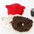 Women Winter Beanie Devil Horns Cat Ear Crochet Braided Knit Ski Wool Cap Hat