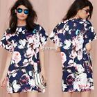 New Lady Women's Western Style O-Neck Short Sleeve Floral Print Loose DZ88