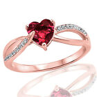 18k Rose Gold Plated Fashion Garnet Heart Infinity CZ Sterling Silver Ring